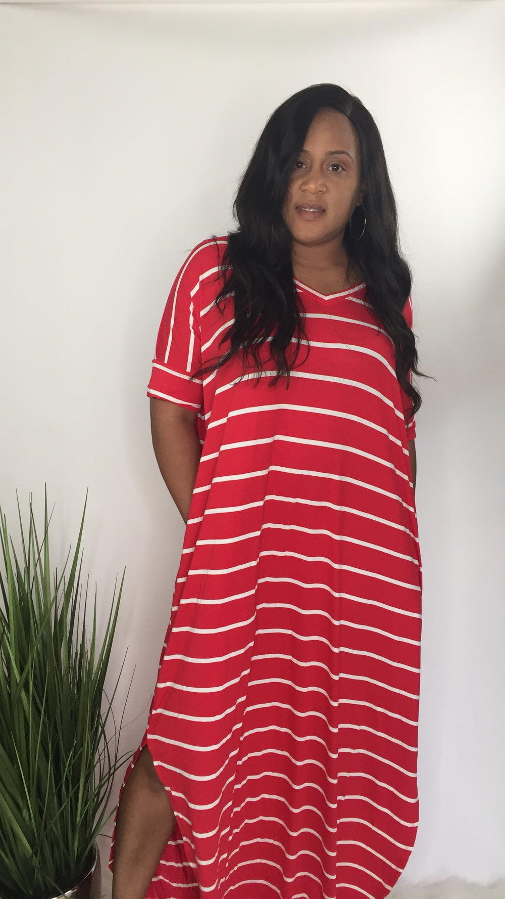Vacation Bound | Striped V-neck Maxi dress Plus (ruby/ivory)