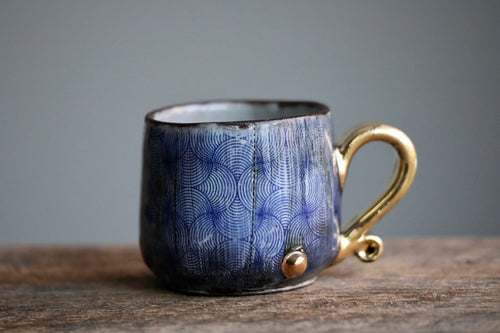 Aged Blue Grey glossy mug 5 oz with 22 k gold handle and accents