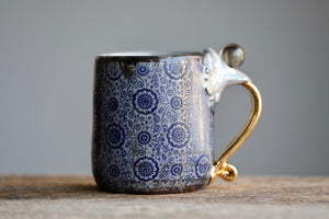 """Fortune-telling"" Quartz sphere Stitch mug with 22 K gold and luster 12 oz"