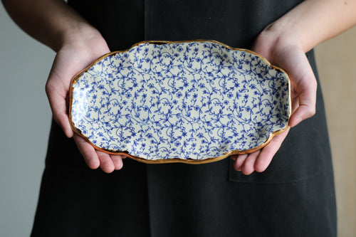 Blue filigree vintage looking serving dish with gold rim 10.5x6.5