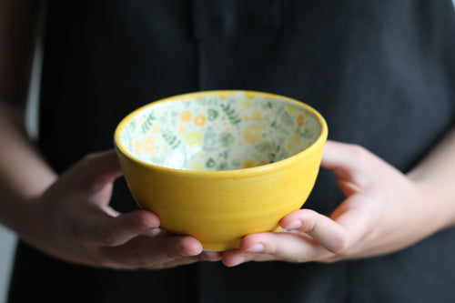Cereal bowls matte yellow and flowers (SET OF 2)