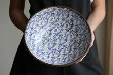 "Large blue filigree bowl 11"" wide"