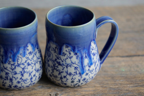 Blue crackle glaze drippy mug 12-14 oz