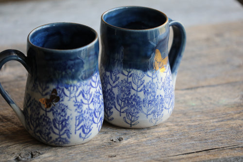 Blue & butterflies drippy mug 12-14  oz with 22k GOLD - DISCOUNTED/SECONDS
