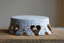 "Blue filigree rustic 8"" crown cake stand with 22k Gold and 6 feet /**DISCOUNTED-SECONDS**"