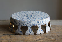 "Blue filigree rustic 9.5"" crown cake stand with 22k Gold and 12 feet."