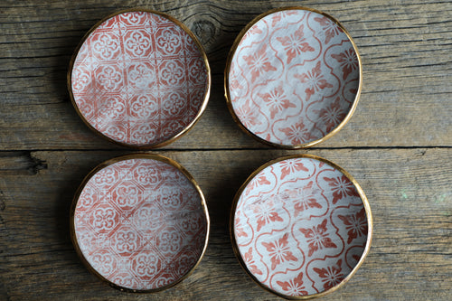 Rustic tapas plates gold rim (SET OF 2) Matte finish