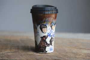 Chestnuts and squirrels #2  travel mug with silicon lid and sleeve