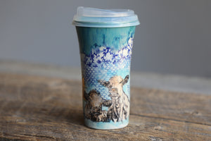 Cows 22k Gold D'oh! turquoise travel mug with silicon lid and sleeve 14-15 oz #2
