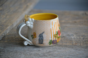 Bunny short crystal mug with citrine and gold accents 12 Oz