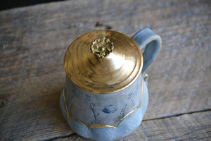 Cloud mug with flowers & vintage brass pull knob LID -16 onces