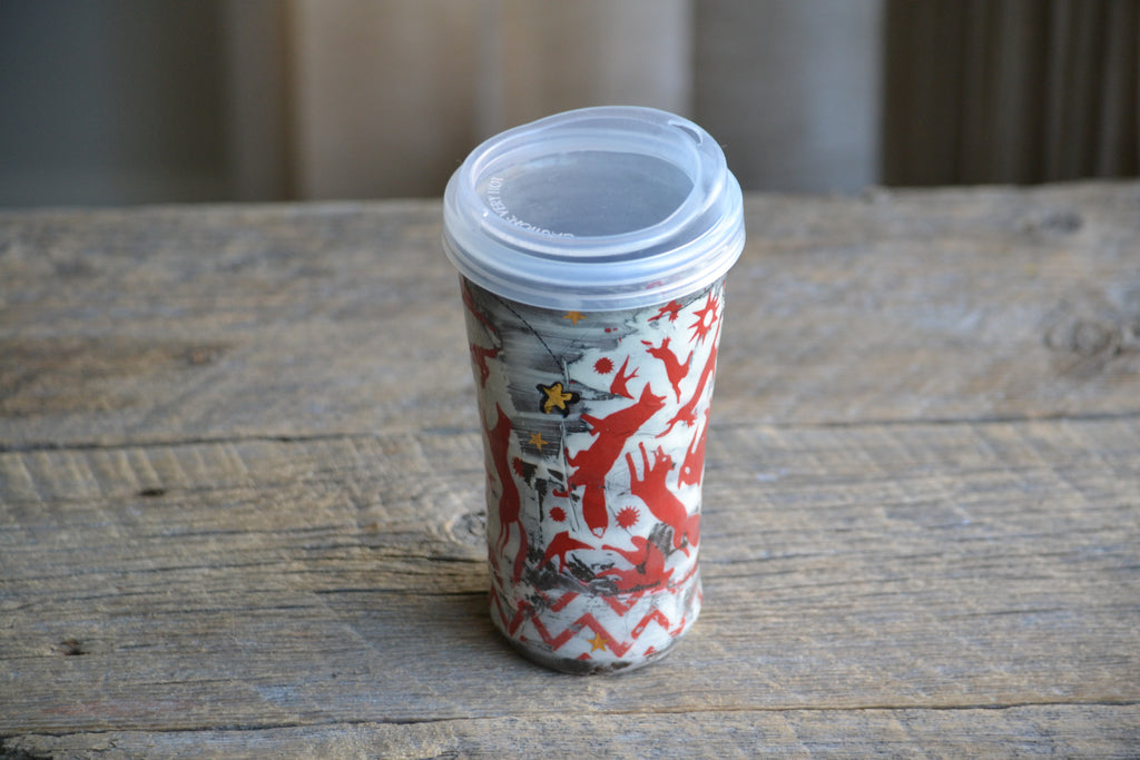 travel mug red folk animals & gold stars - V2 - 16 oz ON SALE