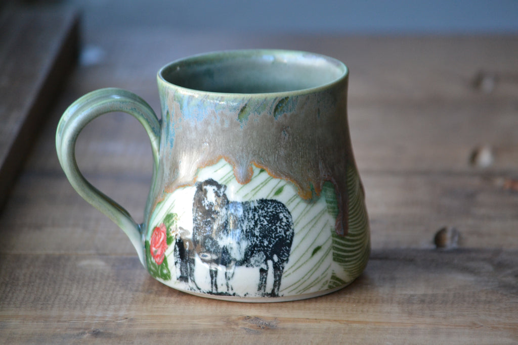 Sheep and roses green drippy mug 12-14 ounces - seconds sale**