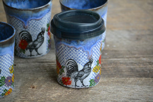 Cocky rooster small travel mug 8 oz with silicon lid and sleeve
