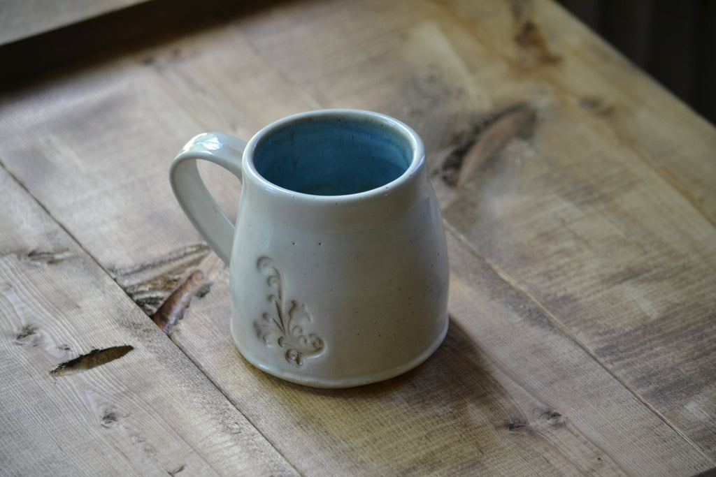 Simple white/blue short mug 8-10 onces (OLDER WORK)