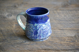 Butterflies swirly blue pearlescent wavy mug 12-14 oz