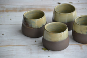 set of 2 small wabi sabi tea cups in green moss