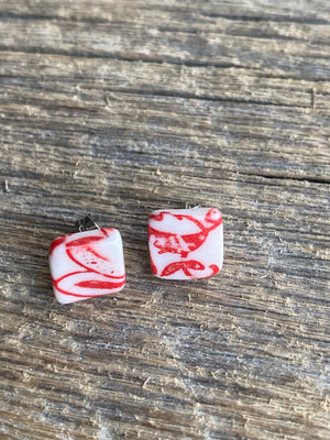 Red daisies #2  square stud earrings