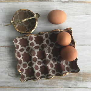 egg carton dark matte red pattern with 23 k gold rim WITH  extra side dish