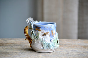 Blue & cream Butterflies gold crystal mug 16 oz with  large double terminated quartz