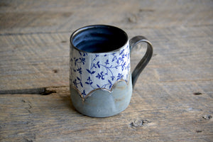 Blue filigree and clouds and platinum gold tall mug 18 oz