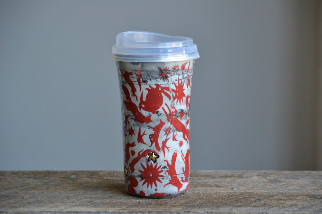 travel mug red folk animals & gold stars - V1 - 16 oz ON SALE