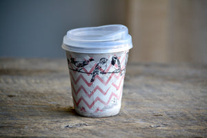 travel mug zig zag birds 10 oz ON SALE
