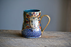 Circus theme mug with gold handle 16 Oz