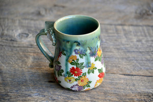 Daisies and green drippy glaze Fluorite Crystal mug 16 oz
