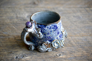 Blue roses and 23k gold crystal short mug - amethyst sphere - 12 oz