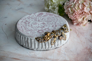 "Pastel flowers rustic 9"" cake stand with 23k Gold and sculpted roses"