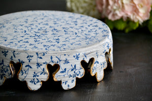 "Blue filigree rustic 9"" crown cake stand with 23k Gold and 12 carved feet."