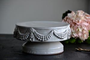 "Pearl swirls 8"" cake stand with pedestal"