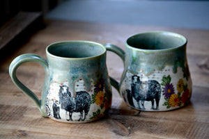 Sheep and daisies green drippy mug 12-14 onces