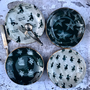 "Discounted** Set of 4 different plates Rustic Chic Printed 7.5"" wide Plates with 23K gold rim"