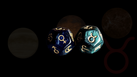 Dice of Taurus and Venus representing the second house