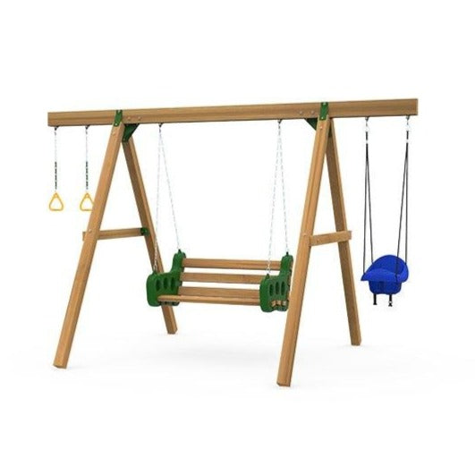 Playstar Horizon Swing Set, Contoured Leisure, Toddler Swing, Gym Rings Wooden Outdoor Playset - Rainbow Playhouses