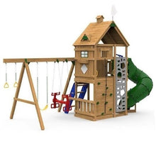 Playstar Ridgeline Swing Set, Scoop Wave Slide, Monkey Bars, Telescope Wooden Outdoor Playset, Climbing Rocks - Rainbow Playhouses