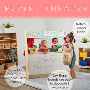 ECR4Kids Puppet Theater - Dry-Erase Board 5 shelves to store accessories neatly Kids Puppet Theater - Rainbow Playhouses