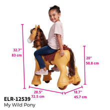 ECR4Kids My Wild Pony ride on horse toy with wheels for kids ages 3+ years - Rainbow Playhouses