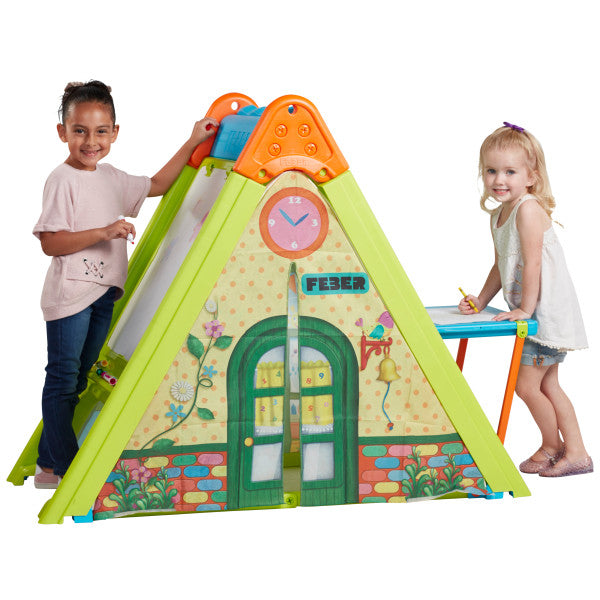 ECR4Kids Play & Fold Learning Center, Dry-Erase Art Easel, Tent For Kids, Fade-resistant, Indoor or Outdoor - Rainbow Playhouses