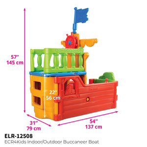 ECR4Kids Buccaneer Boat Pirate Flag, Constructed using blow molded plastic, Playhouse for multiple children ages 2-6 years - Rainbow Playhouses