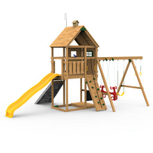 Playstar Legacy Swing Set, Spiral Tube Slide, Climbing Steps, Vertical Climber Wooden Outdoor Playset, Air Rider - Rainbow Playhouses