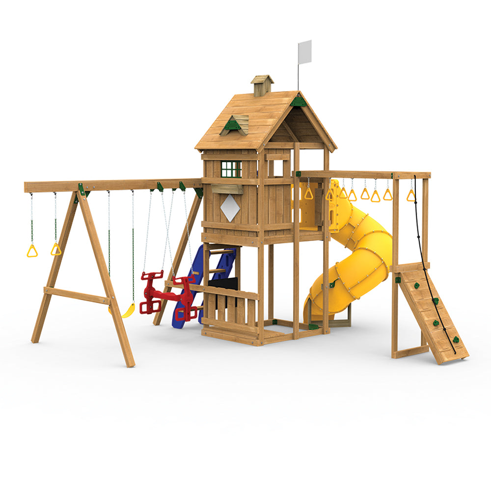 Playstar Contender Swing Set, Spiral Tube Slide, Climbing Steps, Vertical Climber Wooden Outdoor Playset - Rainbow Playhouses
