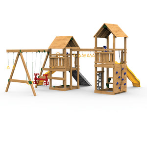 Playstar Super Star XP Swing Set, Climbing Wall, Vertical Climber, Picnic Table Wooden Outdoor Playset - Rainbow Playhouses