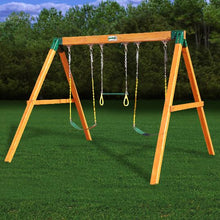 Gorilla 3 Position Free Standing Swing Set with Two Traditional Swings, One Trapeze Bar, Made from Top-Quality Cedar - Rainbow Playhouses