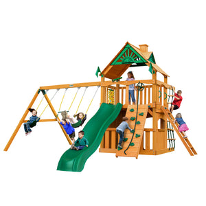 Gorilla Chateau Clubhouse Swing Set, Rock Wall w/ Climbing Rope Swing Set, Safe Entry Ladder, Belt Swings Wooden Outdoor Playset - Rainbow Playhouses