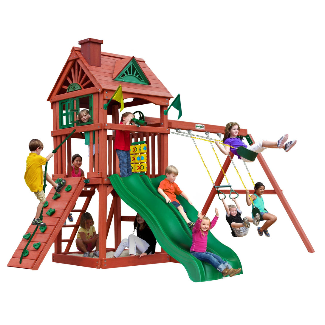 Gorilla Double Down Swing Set, Rock Wall with Climbing Rope, Safe Entry Ladder, Belt Swings - Wooden Outdoor Playset - Rainbow Playhouses