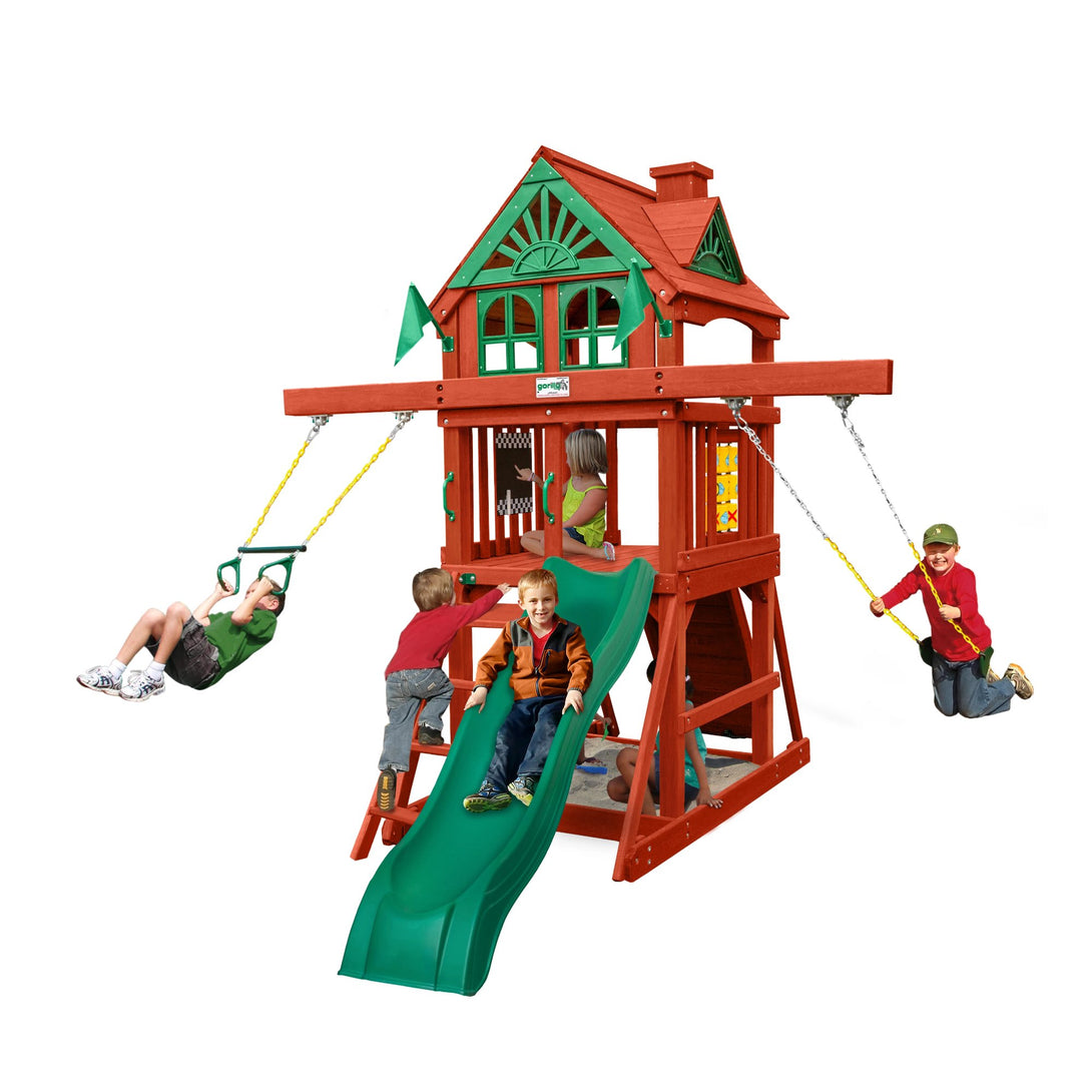 Gorilla Five Star Swing Set, Rock Wall w/ Climbing Rope, Safe Entry Ladder, Trapeze Swing Wooden Outdoor Playset - Rainbow Playhouses