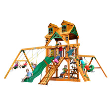 Gorilla Frontier Swing Set, Rock Wall w/ Climbing Rope, Deluxe Rope Ladder, Deluxe Climbing Ramp - Rainbow Playhouses